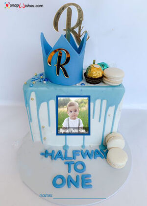 Half-Birthday-cake-for-son-with-name-and-photo